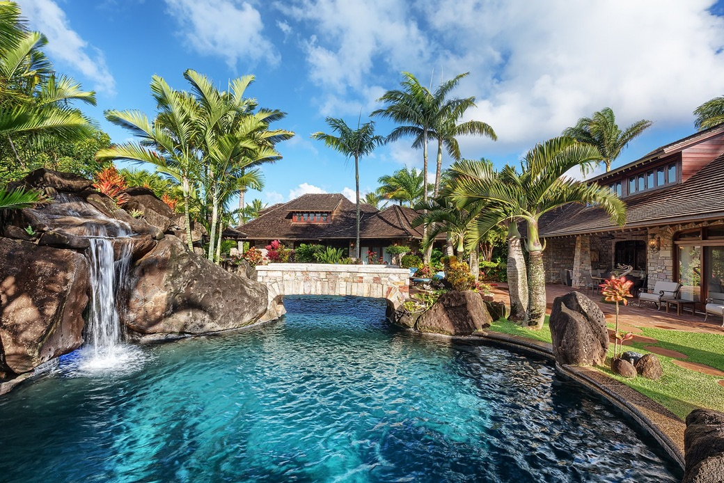 Anini vista estate best pool on kauai anini vista drive for Hawaii package homes